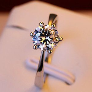 NEW 1ct Solitaire Diamond 925 Sterling Silver Ring